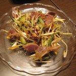 上海家庭料理 謝謝 - 辛い!!砂肝と葱、キューリの山椒味ピリ唐和え物