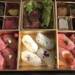 KYOKU - 極上A5炙り寿司弁当(金箱) 2160円
