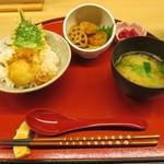 天ぷら やす田 - 卵天丼と姫レンコンのきんぴら@300円(税込み)