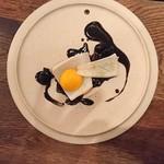 organ - 烏賊と卵黄、黒豆のソース