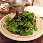 organ - 牡蠣のフリットと茄子、トマト、葉野菜のサラダ:仕上がると葉しか見えない