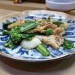 家庭料理 小川 - オオタニワタリ豚バラ炒め