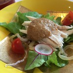 花梨 - 蒸し鶏とくらげの胡麻ソースサラダ