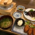 龍神丸 - 牡蠣フライと鰹のわら焼き定食(1,380円)★★★★☆