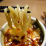79355620 - 自家製麺はうどん並みの太さ