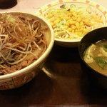 すき家 - 白髪ねぎ牛丼(大盛)+サラダセット、450円(期間限定30円引き)