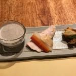 居酒屋 をさむ - 黒豆のポタージュ、むしどり、ブリと菜の花のブルスケッタ