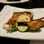 和食すがわら - とらふぐの白子、鮑のモト焼き、鰆の西京焼き