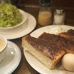 自家焙煎 珈琲屋 ドリーム - 小倉トースト ゆで卵・サラダ付