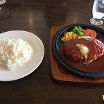 わらじ亭 - ダブルチーズハンバーグ+ライス