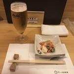 のどぐろ日本海 - グラスビールと先付け