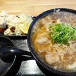 うどん居酒屋 江戸堀 - にんにく肉うどんとカキフライ