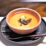 比良山荘 - 鯉の白子蒸し 香茸のあんかけ