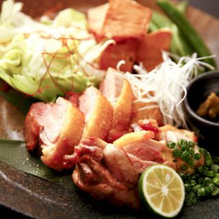 喰心-meat Dining- - 料理写真:青森地鶏シャモロックの岩塩焼き-柚子胡椒添え-