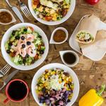 ファブカフェ - チョップドサラダ3種と、サラダをそのまま巻いたラップはボリューム満点。