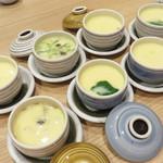 茶碗蒸し本舗 稲穂 中洲店 - お店のオススメ3種セットと、季節の白子の茶碗蒸し。