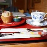 ハーブカフェYKガーデン - ラズベリーマフィンとコーヒー