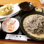 麺工房秋田 - かき揚げそば(冷)  ¥850-