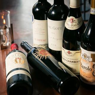 ワインは50種以上!赤・白・泡の多彩な品揃え