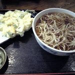 味奈登庵 - かけそば300円+かき揚げ150円