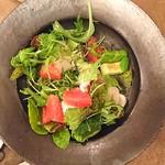 organ - 「北海道産 生帆立とブッラータ、アボカド、柑橘のサラダ」仕上げた後に自分で混ぜ込む