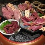 鶏家 六角鶏 - 地鶏お造り盛り合わせ〜( ´ ▽. ` )ノ¥1380円