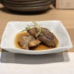 喜分屋 元祐 小皿料理と松阪牛 - お通し(ニシンの卵とヒラメの煮付け)