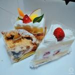 シャトレーゼ 安曇野店 - フルーツショートケーキ、イチゴショート、アップルカスタードパイ