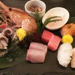 俺の魚を食ってみろ!! - 刺身6種盛に牡丹海老を追加しました。