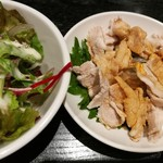 79544705 - 小皿料理はご飯が進む豚肉の台湾風醤油がけ、マスタードソースのサラダ