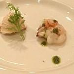 マダムシュリンプグレイス - お通し(蛸の炙り&海老とツナのリエット)