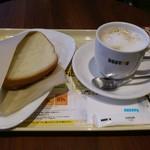 ドトールコーヒーショップ - 朝カフェのBセット、あつあつハムチーズとホットのカフェ・ラテです。(2018年1月)