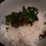 はかた野菜巻き串 きばくもん - 仕上げのお茶漬け、鍋のスープをかけて茶漬けにする