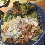 九州炉端 弁慶 - 【焼き物】鶏せせりと野菜のピリ辛柚子胡椒焼き(2018.01.17)