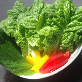 たっぷりのお野菜と一緒にホルモンをお召し上がりください。