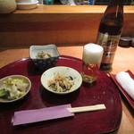 あきよし - 料理写真:瓶ビールとお通し三品