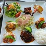 ビストロ ラ・ナチュール - レディースプレート 1,500円 肉料理3品、魚料理2品、パスタ(生ハムバジル)、サラダ、ミニデザート