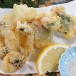 磯一 - あわびと鱧の天ぷら