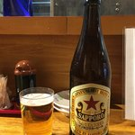もつ焼きおとんば - 「赤星瓶ビール」550円