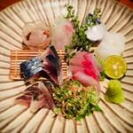 吉乃坐 - 旬の鮮魚お造り5点盛り