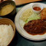 """キッチンジロー - """"ハンバーグと花咲ガニのクリームコロッケ"""""""