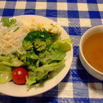 遊季亭 - サラダとコンソメスープ