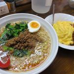 あづま屋担々麺 悠泉 - +250円でミニオムライスを付けることができます。
