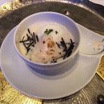 レストランヴィトラナゴヤ - 聖護院かぶらのスープに河豚の白子、トリュフ、豆乳カプチーノ