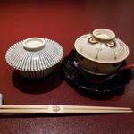 人形町 今半 東京ガーデンテラス紀尾井町店 - 茶碗蒸しと白いご飯・その1です。