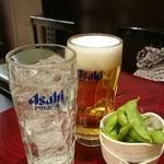 そばバー イング - 酎ハイ、ビールと枝豆セット