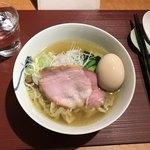 麺 みつヰ - 塩・中太手もみ麺(750円)+味玉(100円)