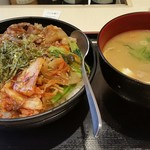 松屋 - ビビン丼 大盛り 豚汁セット 2018年 1月