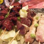 炭火焼鳥 かぶき - 鶏肝とズリとささみ串。 鶏肝のタレ焼きは特に美味しかったです。