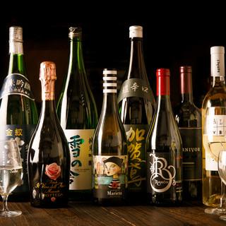オーナー厳選ワイン、日本酒が多種ご用意してます☆